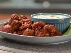 Buffalo-Style Cauliflower with Cashew-Dill Dipping Sauce : Recipes : Cooking Channel