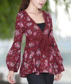 Floral Pattern V Collar Wrinkle Shirt-zenb.com SKU ba0582