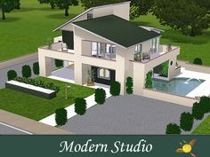 Modern house with floors. Bedrooms on the top floor. Kitchen and living/sitting room on the first floor. Main entrance on the right side of the building with a view to the pool. Back yard and. 2 Storey House Design, Sims House Design, Bungalow House Design, Modern House Design, House Layout Plans, Modern House Plans, Little House Plans, House Plans Mansion, Casas The Sims 4