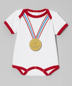 White & Red '#1 Crawling Champ' Bodysuit | Daily deals for moms, babies and kids