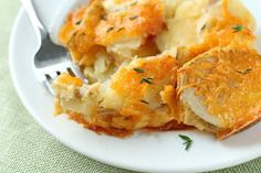 Thinly sliced potatoes and onion are layered in a creamy cheese sauce creating … potatoes all through dinner, my husband said they're the best he's ever had!  INGREDIENTS  4cups thinly sliced potatoes  3tablespoons butter  3tablespoons flour  1 1⁄2cups milk  1teaspoon salt  1dash