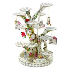 【楽天市場】ツリー型ケーキスタンド アリス [Talking Tables]トーキングテーブル・うさぎ・時計 アリスインワンダーランド:KADERIA