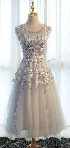 US$96.11-Sweetie Sleeveless Appliqued Grey Short Prom Dress with Illusion Back.  https://www.newadoringdress.com/sleeveless-stuning-new-arrival-1-p331168.html.  Free Shipping! NewAdoringDress.com selected the best prom dresses, party dresses, cocktail dresses, formal dresses, maxi dresses, evening dresses and dresses for teens such as sweet 16, graduation and homecoming. #prom #dress