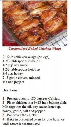 Baked Chicken Wings, Chicken Wing Recipes, Meat Recipes, Appetizer Recipes, Crockpot Recipes, Cooking Recipes, Recipies, Appetizers, Food Dishes
