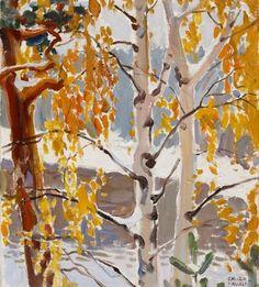 Ensi lumi First Snow Akseli Gallen-Kallela oil Nordic Art, Scandinavian Art, Landscape Art, Landscape Paintings, Canadian Art, Winter Trees, Tree Art, Painting & Drawing, Watercolor Paintings