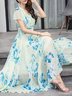 & & Sommer V-Ausschnitt Floral Bedruckte Chiffon Maxi-Kleid Vestidos Chiffon, Nice Dresses, Summer Dresses, Summer Maxi, Awesome Dresses, Dresses Dresses, Long Maxi Dresses, Summer Beach, Prom Dress