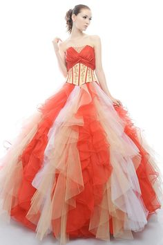 Mature Colorful Inlay Beadings Strapless Tiered Organza Satin Tulle Floor Length Prom Dress for Debutante Ball