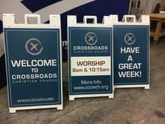 Crossroads Christian Church (Washington Courthouse, OH) uses sidewalk signs to create hospitality the minute guests enter the parking lot. Church Lobby, Church Foyer, Church Interior Design, Church Stage Design, Church Welcome Center, Sidewalk Signs, Pallet, Outdoor Signage, Church Ministry