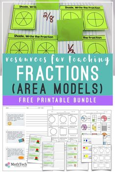 free resources for teaching fractions - grade - area models - by dale 3rd Grade Fractions, Teaching Fractions, Fourth Grade Math, Math Fractions, Teaching Math, Teaching Cursive, Dividing Fractions, Equivalent Fractions, Multiplication