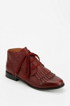 Pavil lace-up cut off ankle boot in rich leather with a bit of fringe, from Shellys London. #urbanoutfitters