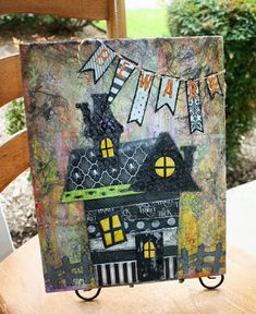 Beware! Our Haunted House Mixed Media Canvas is sure to bring out the Spooky Artist in you! Come and create one for yourself @ The Little Blue House: LBH Buffet Classes & Kits