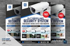 CCTV Surveillance Camera Shop Flyer Design Template Boost your company's sales and attract new customers! This CCTV Surveillance Camera Shop Flyer/ Flyer Design Best Home Security, Wireless Home Security, Security Alarm, Home Security Systems, Security Camera, House Security, Security Service, Flyer Design Templates, Flyer Template