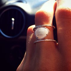 Double Band Moonstone ring by Luna Skye