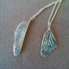 These #Fairy #Wing #pendants were lovingly #handcarved by #Tara #Shelton and cast into #sterling silver. Price $145(longer shaped) to $165(wider-shaped)CDN each. Also available in gold. See more of #artisan Tara Shelton's #jewelry #jewellery at #ArtisansAtWork/ #AAWGallery www.aawgallery.com and www.tarashelton.com Sansa, Hand Carved, Insects, Wings, Artisan, Fairy, Creatures, Carving, Pendants