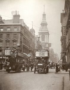 Cheapside, with the Church of Saint Mary le Bow in the background and open top motor buses on the road, London, Vintage London, Old London, East London, London City, London United, London History, British History, Columbian Emeralds, Black And White City