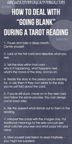 """Tarot Tips http://arcanemysteries.tumblr.com/ How To Deal With """"Going Blank"""" During A Tarot Reading."""