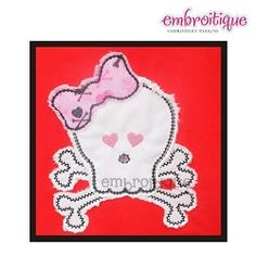 Girlie Skull with Bow, Raw Edge Applique - 4 Sizes!   Valentine's Day   Machine Embroidery Designs   SWAKembroidery.com Embroitique