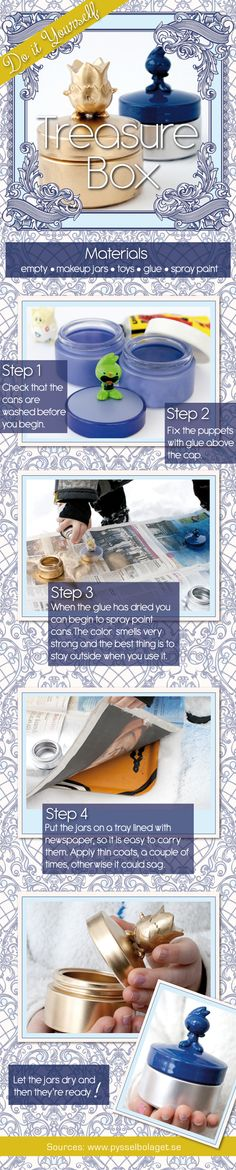 How to Create a DIY Treasure Box for kids Diy And Crafts, Arts And Crafts, Crafty Craft, Crafting, Treasure Boxes, Kids Boxing, Sugar And Spice, Artsy Fartsy, Cool Stuff