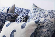 Indigo Paisley Cushions HOUSE of PHILIA
