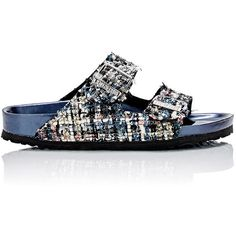 Birkenstock Women's Tweed Arizona Double Buckle Sandals (920 RON) ❤ liked on Polyvore featuring shoes, sandals, blue, metallic sandals, buckle sandals, slip-on shoes, multi colored sandals and blue slip on shoes