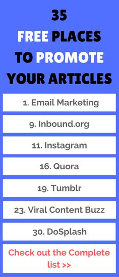 There are many ways to promote latest articles, and I have compiled a list of 35 blog promotion sites where you can promote your blog posts and get significant traffic.  You may a be a part of few of the below sites. But, I am sure, you are unaware of many sites.
