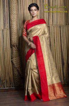 Brocade Tussar Banarasi Saree in Beige, Gold and Red