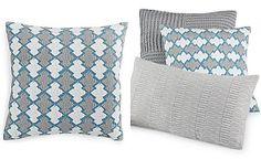 """Hotel Collection Linen Turquoise Embroidered 18"""" Square Decorative Pillow, Only at Macy's"""