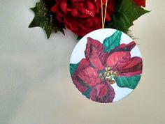 OOAK Oil Painting Christmas Ornament Poinsettia by ArtdeJoie