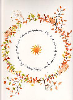 Autumn Original Watercolour Painting Poetry of John by SpiralSpun