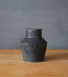 wide black vase