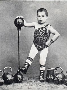 Early 1900s Circus Postcard Midget weight Lifter