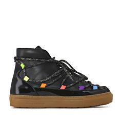 Wrap up warm this winter with our Queenie boot style sneaker. Perfect for the cold season, the black high-top is finished with multicoloured eyelets making. Black High Tops, Sophia Webster, Black Glitter, World Of Fashion, Fashion Boots, Luxury Branding, Perfect Fit, Hiking Boots, Patent Leather