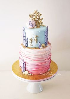 Under the Sea Cake with Gold Coral Topper and Seahorses. Click over to RoseBakes.com for all the details! #cake #underthesea #gold #birthday #birthdaycake