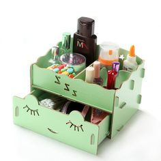 Creative Wooden Desk Organiser Long Eyelash Shy Girl Desk Organiser Drawers Office Desk Storage Boxes Lady Jewellery Storage Boxes (Green) Wooden Desk Organizer, Wooden Storage Boxes, Desk Storage, Wooden Boxes, Girl Desk, Desk Organization Diy, Princess Room, Makeup Box, Desk Ideas