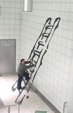 People Climbing Painted Stairs Illusion   Mighty Optical Illusions