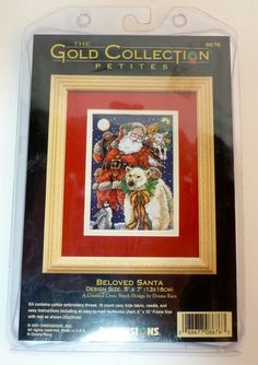 *Beloved Santa DIMENSIONS GOLD COLLECTION PETITES 8676 COUNTED CROSS STITCH KIT #DimensionsTheGoldCollection #Frame