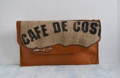 Burlap and Leather Clutch  Leather Clutch  Vintage  by Liquidshiva, $36.00