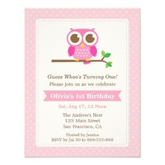 Pink Polka Dots Cute Owl Birthday Party Announcements