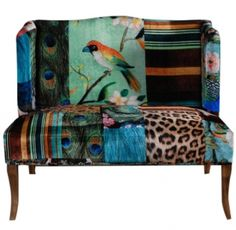 settee in turquoise and leopard animal print birds, stripes, it works, peacock feather print