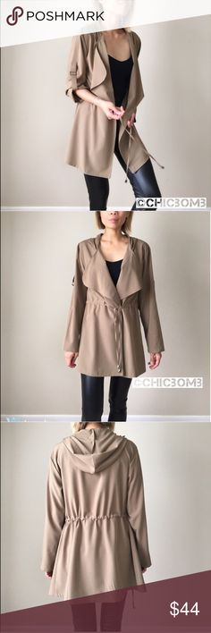 """Fall tan outerwear jacket Tan mocha light outerwear; drawstring adjustable stretch waist. Classy, clean look for young and precessional. Adjustable sleeve tie. Hooded. Fabric; 97% polyester 3%spandex.  Measurement :length /chest/waist. Size S :31""""/38""""/35"""". Size M: 31""""/39""""/36 . Size L: 32""""/40""""/37"""" CHICBOMB Jackets & Coats Trench Coats"""
