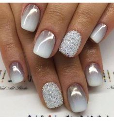 Grey and White Gradient Manicure