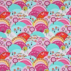 funny Michael Miller fabric colourful hills Happy Hills 2