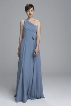 """""""Laurie"""" - One shoulder Grecian bridesmaids dress shown in Twilight"""