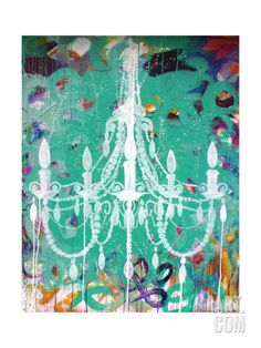 Emerald Chandelier Premium Giclee Print by Kent Youngstrom at Art.com