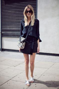 Black on black with a hint of metallic. #fashionweek #streetstyle