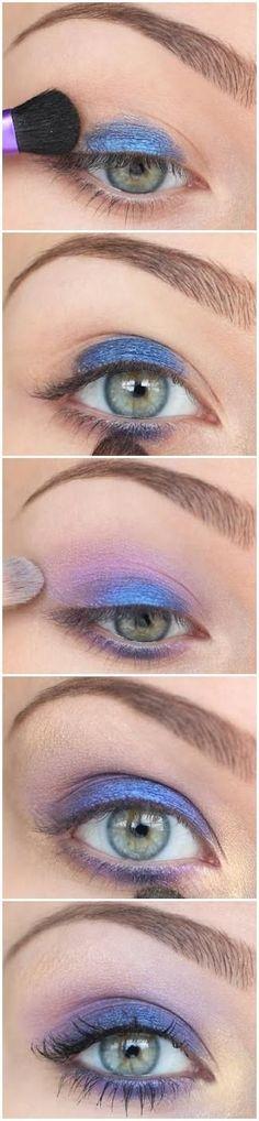 Olho azul e roxo