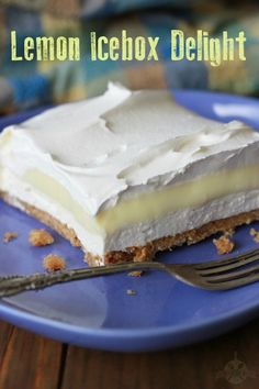 This lemon Icebox Delight has all the flavor of Lemon Icebox Pie in a delicious layer dessert. The crunchy, toffee-like crust is what makes it so good! Mini Desserts, Icebox Desserts, Layered Desserts, Lemon Desserts, Lemon Recipes, Easy Desserts, Sweet Recipes, Delicious Desserts, Dessert Recipes