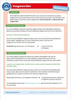 Een voegwoord voegt of verbindt vooral zinnen (zinsdelen) aan elkaar. Er zijn twee soorten voegwoorden: nevenschikkende en onderschikkende voegwoorden. Op deze overzichtskaart staat alles over de nevenschikkende en onderschikkende voegwoorden uitgelegd. Tip: print ook de andere kaarten van voegwoorden uit en bundel ze. School Posters, School Lessons, Grammar, Einstein, Language, Classroom, Teacher, Writing, Education