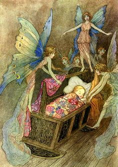 """As fadas d'A Bela Adormecida"", por Warwick Goble"