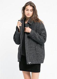 Mango Wool-blend cocoon coat